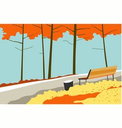 autumn landscape park with trees and bench vector image