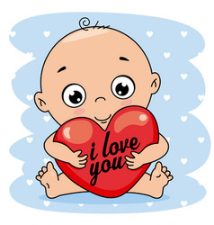 baby boy hugging a heart vector image