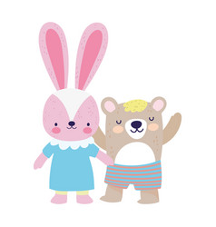 bashower cute little female rabbit and bear vector image