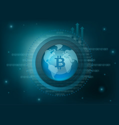 Bitcoin cryptocurrency coin global background vector