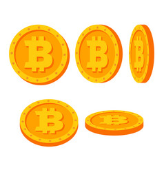Bitcoin gold coins set flat cartoon flip vector