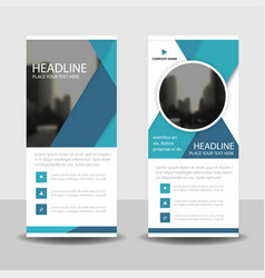 blue circle roll up business brochure flyer vector image