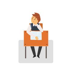 Bored student sitting at desk in classroom vector