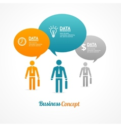 business group people with speech bubbles vector image
