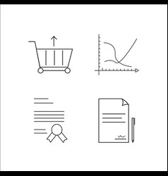 business simple linear icon setsimple outline vector image