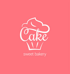 Cake logo of bakery cupcake dessert on pink vector