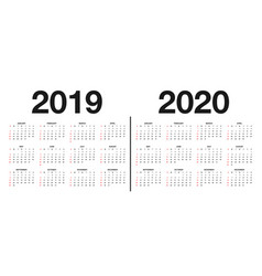 calendar 2019 and 2020 template calendar design vector image