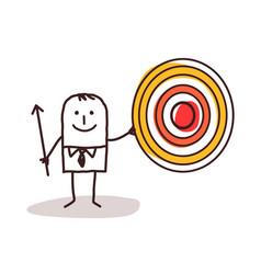 Cartoon businessman with arrow holding up a big vector