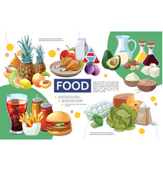 cartoon food infographic concept vector image