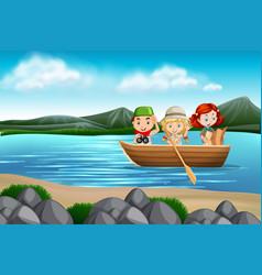 Children in a boat scene vector