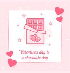 chocolate bar heart valentine card love text icon vector image