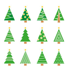 christmas tree line set concept tree icon vector image