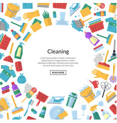 cleaning flat icons background with place vector image