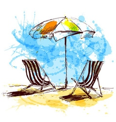 Colored hand sketch with beach chairs and parasols vector image