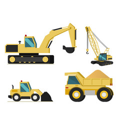 construction mining industry machines set vector image