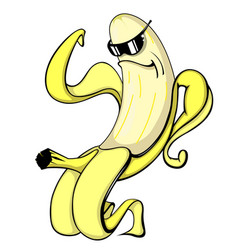 Cool banana wearing sunglasses muscular rolling vector