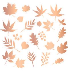 copper foil leaves icon set foliage nature vector image
