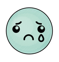 Cute blue kawaii emoticon face vector