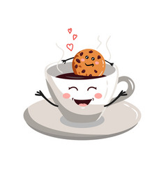 cute cartoon cup of coffee5 vector image