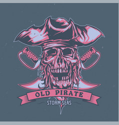 dead pirate in hat vector image