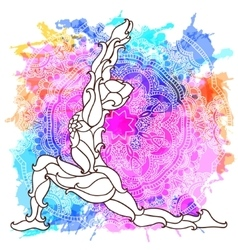 Decorative yoga pose on the abstract multicolored vector image