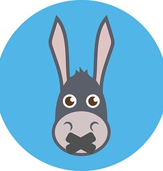 Donkey Head With Mouth Sealed Shut up concept Flat vector image