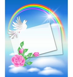 Dove with letter in the sky vector image