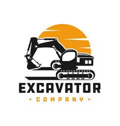 excavator construction tool logo vector image