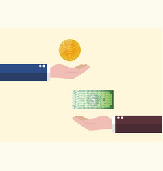 exchange between libra currency and cash money vector image