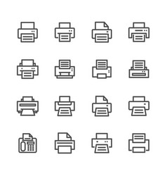 fax and print lines icons set vector image