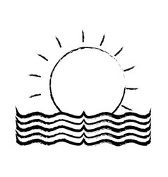 Figure sun with water flood natural disaster vector