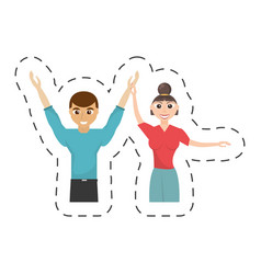 Fun couple happy dance vector