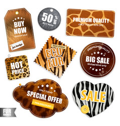 Fur sale badges and labels vector