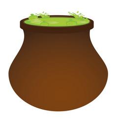 Halloween witch cauldron pot icon vector