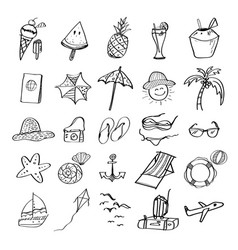 hand drawn set of summer beach vector image