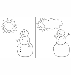 Happy and sad snowman isolated on white background vector image