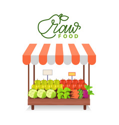 Healthy food vegetable and fruit in shop vector
