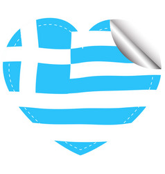 heart shape sticker for greece flag vector image