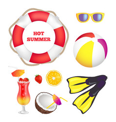 Hot summer items collection vector