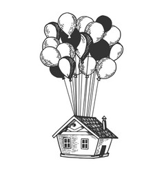 house is flying on air balloons engraving vector image