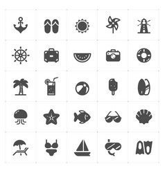 icon set - beach filled icon style vector image