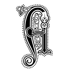 Initial letter ornamental letters calligraphy vector