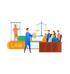 Jury trial process cartoon vector