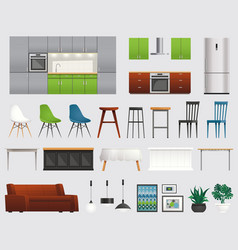 Kitchen furniture accessories flat set vector