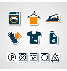 Laundry paper cut icons vector image