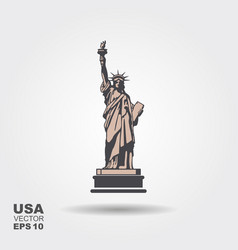 Liberty statue icon flat style vector