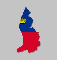 Liechtenstein national flag on map vector