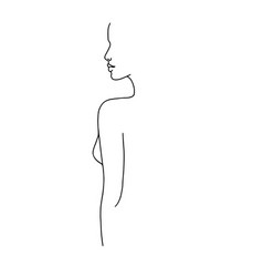 Line drawing a beautiful woman 7 vector