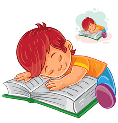 Little boy reading a book and falling vector