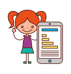 little girl and mobile chart diagram vector image